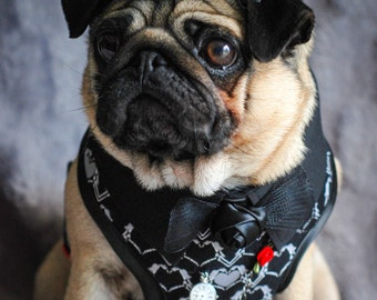 Zombie Love Gothic Dog Harness - Size Medium