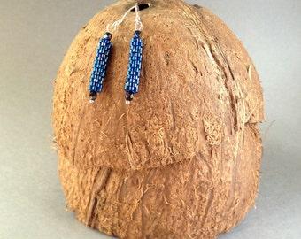 """Handmade beaded peyote earrings """"Night blue"""""""