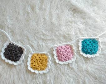 Handmade Crochet Banner | Crochet Garland with scalloped edge
