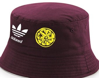 Stone Roses Spike Island Adored 25th Anniversary Tribute Burgundy Reversible Bucket Hat Free Delivery UK