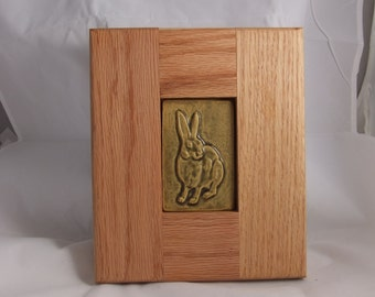 Art Tile of Hare in a Wooden Frame