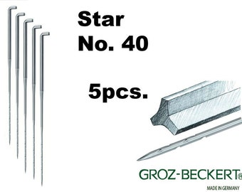 Star felting needles, Gauge 40. Price for 5pcs. Made in Germany.