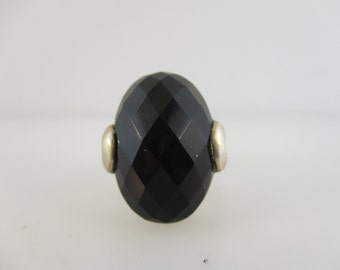 Sterling Silver Faceted Onyx Cabochon Ring Size 8 1/4