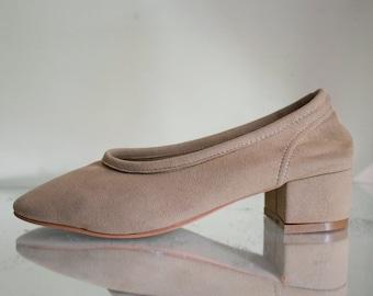 Faux suede ballerina block heel