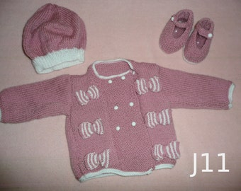 Jacket with pink/white bows, Beret and Shoes