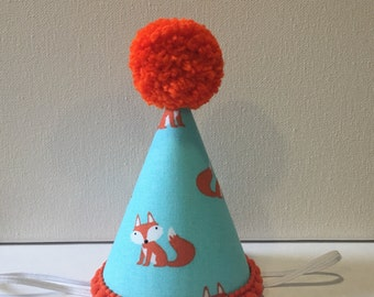 Fox Woodland Party Hat Aqua, Orange, and White Fox Mini Party Hat Orange Fox Birthday Hat 1st 2nd 3rd 4th 5th Party Hat