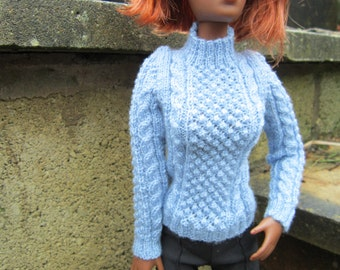 Popcorn and Cable Jumper for 16 inch Fashion Dolls Such as Tonners Tyler etc.