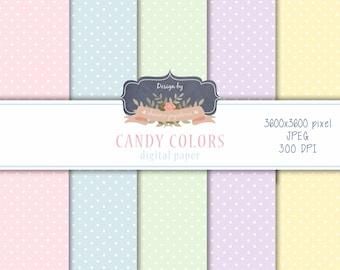 SALE Digital paper polka dot Candy colors