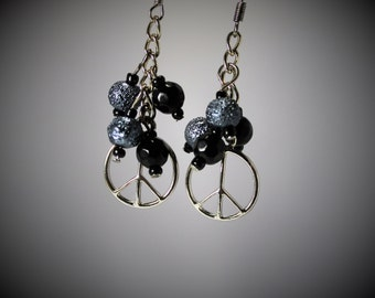 Black, blue,silver, peace symbol earrings