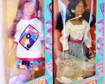 Vintage 1987 Maxie Dolls - Maxie's Friends Ashley & Kristen (Hasbro) (Maxie's World) NRFB MIB