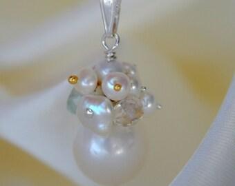 Pearl pendant Pearl aquamarine keshi pearls aquamarine keshi pearls pendant