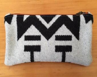 Black & White Geometric Print Wool Pouch with Brass Zipper