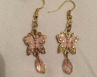 Sparkly butterfly charm earrings