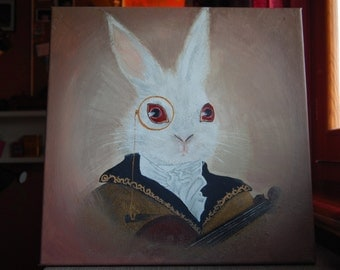 Acrylic painting on canvas. White Rabbit. Alice in Wonderland