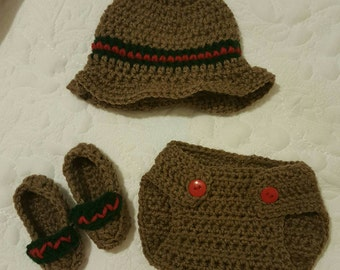 Baby gucci crochet look alike prop diaper cover and hat set