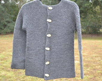Wool Sweater in Grey with Antler Buttons