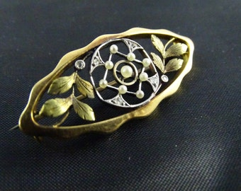 Victorian Era Pin 14k Yellow Gold with 9 Small Pearls and 6 Accent Diamonds