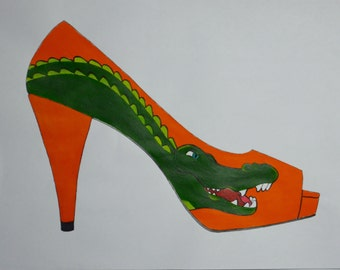 Gator shoe art - painting only