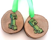 Creeper Ornament - woodburning pyrography Christmas decorations Minecraft gamer gift