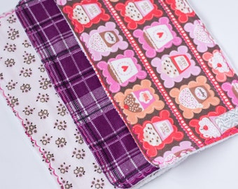 Baby Girl Burp Cloths-Set of 3 Burp Cloths, Baby Burp Cloth, Cupcake, Flowers, Flannel, Pink, Purple