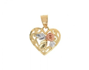 Heart Pendant 14K Tri Tone Gold Diamond Cut
