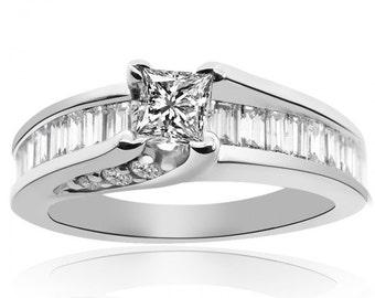 1.10 Carat G-SI1 Natural Princess Cut Diamond Engagement Ring 14K White Gold