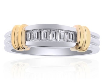 0.45 Carat Princess Cut Brilliant Diamond Wedding Band 14K Two Tone Gold
