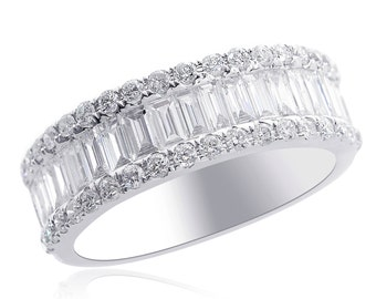 Round & Baguette Cut Non Enhanced Diamond Wedding Band in 14K White Gold (1.50 tcw, G VS-2)