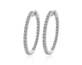 3.25 Carat Diamond Eternity Hoop Earrings 14K White Gold