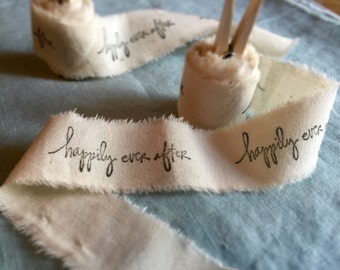 Hand stamped muslin ribbon!