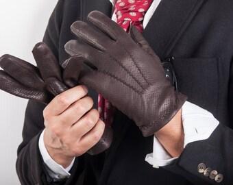Italian Handmade Men's Leather Gloves Winter Gloves Italian Leather Gloves Gift for Him