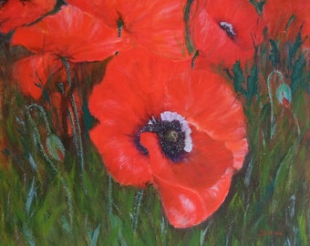 Poppy land. Original hand painted acrylic painting of a beautiful poppies by SARMITE ALKSNE. Size 24 x 24 inches.