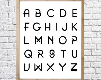 Print of alphabet, printable art, digital download, home decor, wall decor, instant download,