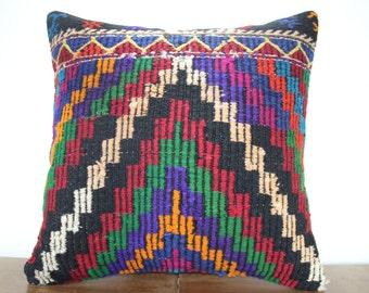 "24""x24"" Kilim Pillow Cover - Decorative Pillow - Large Size Kilim Pillow - Embroidered Designs Vintage Turkish Kilim Pillow Cases SP6060-35"