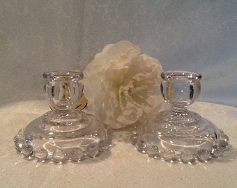 Imperial Candlewick Pattern 3400 Candlestick Holder Set of 2
