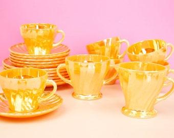 Anchor Hocking Vintage Fire King Peach Gloss 20-piece Tea Set