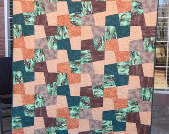 Geometric Quilt, Modern Lap Quilt, Patchwork Quilt, Masculine Quilt, Fish Quilt, Jade Green and Brown