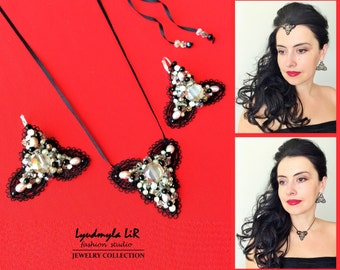 """Earrings & Necklace/Pendant/Headpiece SET """"Sparkling Stars"""" collection-Champagne Swarovski Crystals Pearls Luxury Jewelry Wedding Prom Party"""