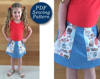 Girls skirt pattern pdf, Skirt with pockets Pattern, Easy DIY girl skirt sewing pattern, Girl pocket Skirt Sewing Pattern, sizes 12m-8 years