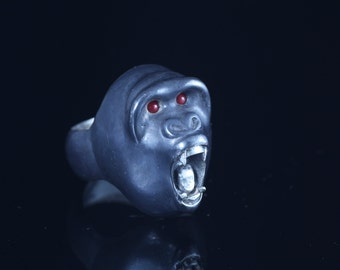 sterling silver screaming gorilla ring