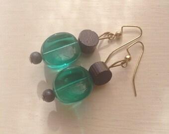 Green glass wood bead dangle hook earrings