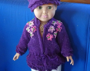 American Girl Doll Sweater and Hat, Knit Doll Outfit, 18 inch Doll outfit