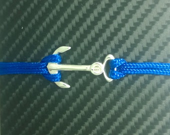 Bracelet silver anchor and Paracord blue electric
