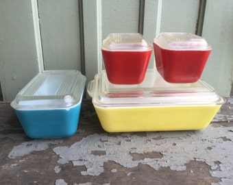 Vintage Glass Pyrex Refrigerator Dishes