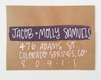 Custom Hand Lettered Envelope - Holiday Card Lettering - Wedding Lettering Suite - Christmas Card Lettering
