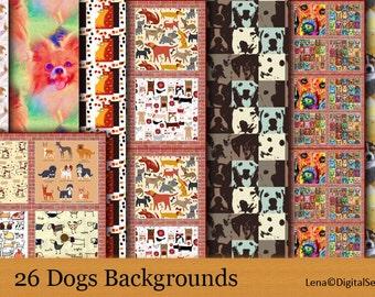 26 Dogs backgrounds, set3 INSTANT DOWNLOAD digital paper pack patterns scrapbooking printable sheet