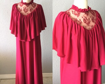 1970's Lace High Collar Burgundy Maxi Dress