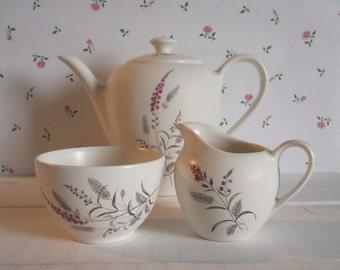 1960s J & G Meakin Teapot, Sugar Bowl and Creamer Tea Set with Harvest Pattern