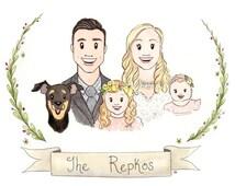 Custom Watercolor Portrait Couple Illustration Family Portrait Custom Portrait illustration Couple Gift Newlywed Wedding Gift Custom Present