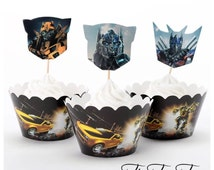 12pcs Transformers Cupcake Toppers + Wrappers. Optimus Prime, Bumblebee